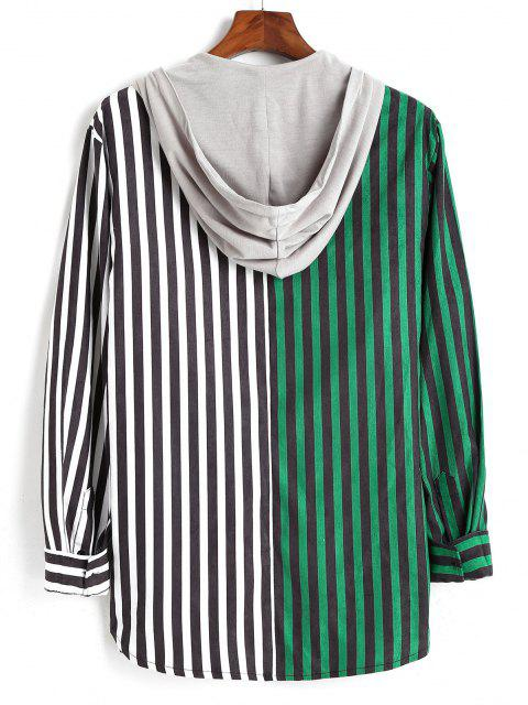 womens Colorblock Striped Hooded Drawstring Corduroy Shirt - DEEP GREEN M Mobile