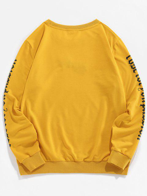 women's ZAFUL Rose Letter Embroidered Casual Sweatshirt - YELLOW S Mobile