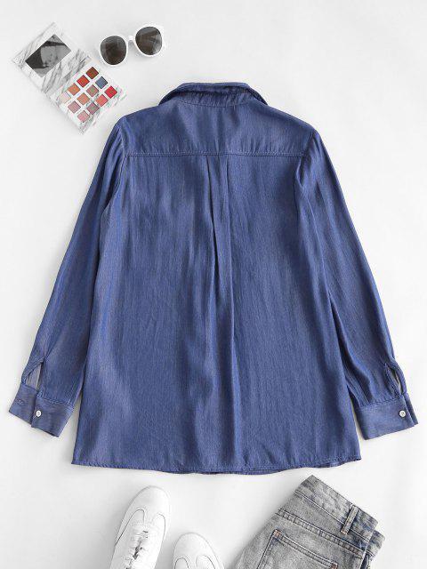 ZAFUL Camisa con Bolsillo de Canguro y Estampado de Flores - Azul claro S Mobile
