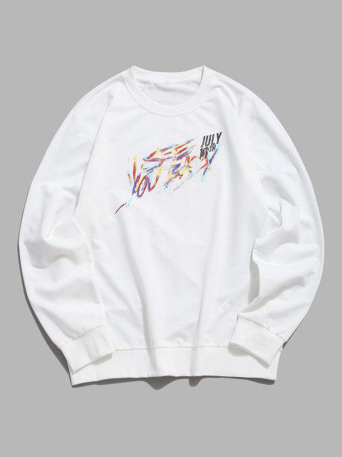 Sweat-shirtLettreImprimé à Col Rond - Blanc XS Mobile