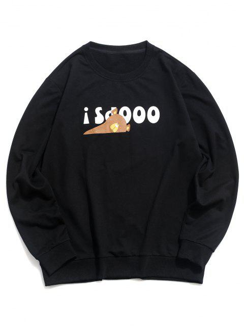 hot Crew Neck Pullover Graphic Sweatshirt - BLACK M Mobile