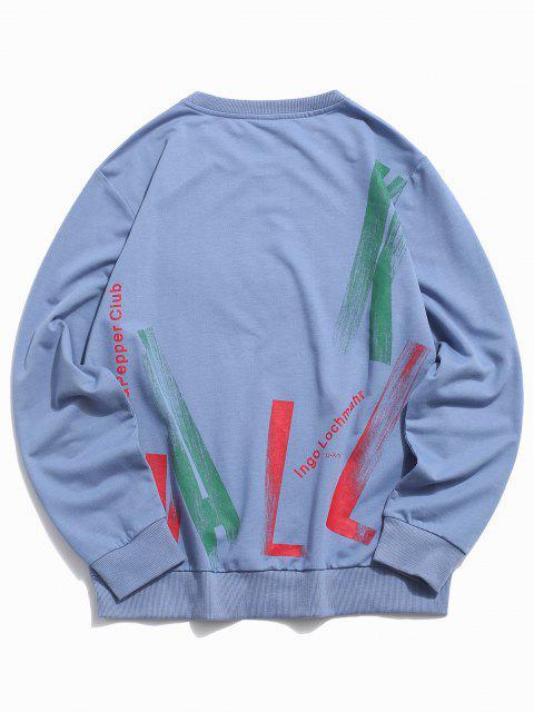 Kapuze Letters Basic T-Shirt - Blau 2XL Mobile