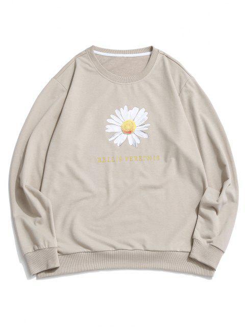 hot Daisy Letter Print Crew Neck Sweatshirt - LIGHT COFFEE XL Mobile