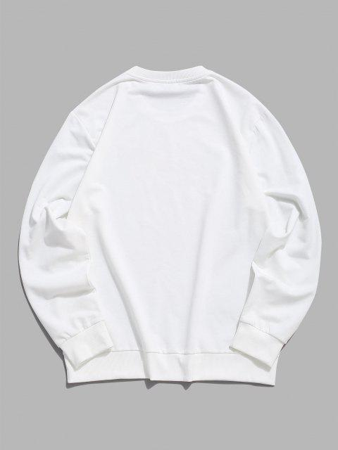 buy Pullover Crew Neck Letters Sweatshirt - WHITE S Mobile