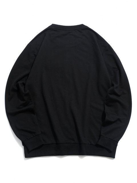 buy Crew Neck Pullover Graphic Sweatshirt - BLACK 2XL Mobile