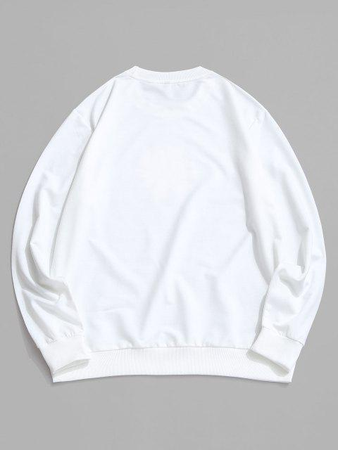 women Daisy Letter Print Crew Neck Sweatshirt - WHITE S Mobile
