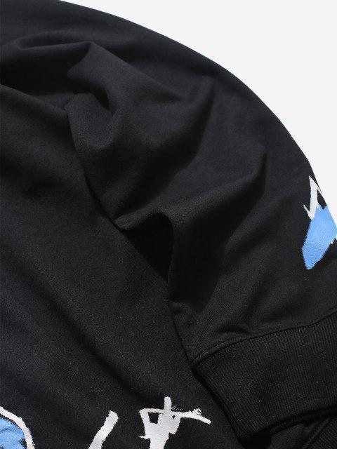 chic Cartoon Pullover Long Sleeves Hoodie - BLACK 2XL Mobile
