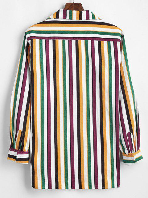 unique Colorful Striped Pocket Corduroy Long Sleeve Shirt - MULTI XL Mobile