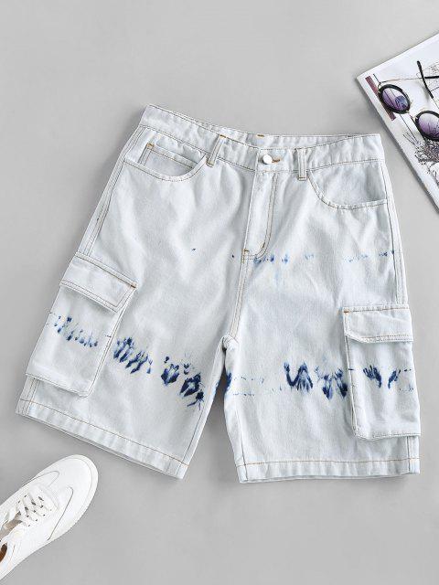 shops ZAFUL Tie Dye Denim Bermuda Cargo Shorts - LIGHT BLUE L Mobile