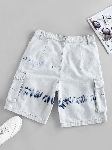 ZAFUL Krawattenfärbende Denim Gefesselte Cargo Shorts - Hellblau M Mobile