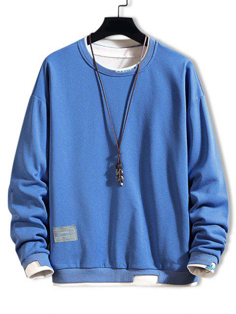 hot Letter Embroidery Colorblock Sweatshirt - BLUE XS Mobile