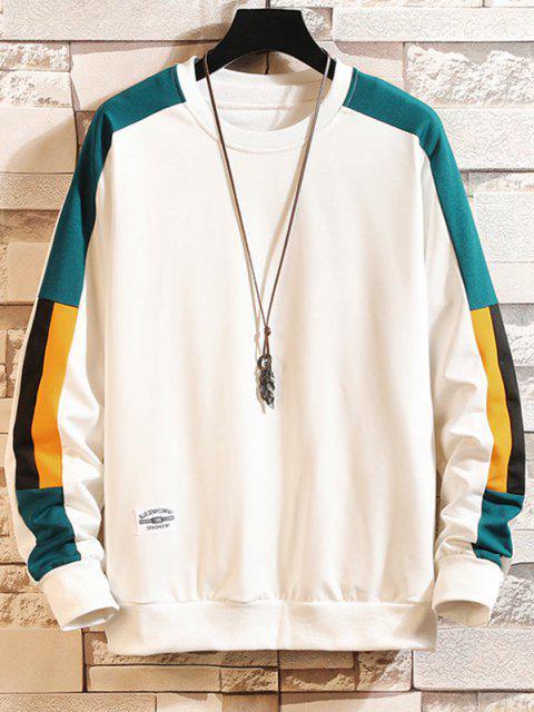 trendy Color Blocking Panel Crew Neck Sweatshirt - WHITE XS Mobile