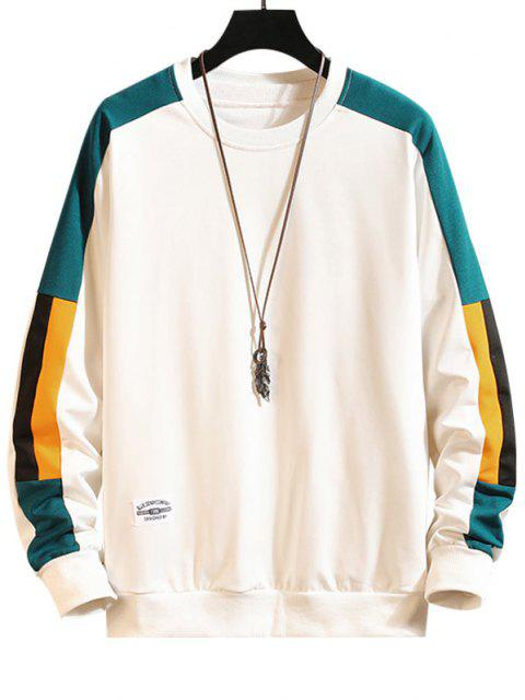 shops Color Blocking Panel Crew Neck Sweatshirt - WHITE M Mobile