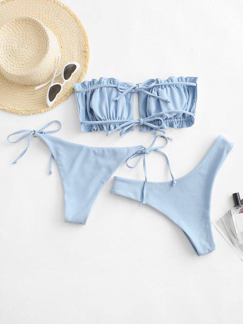 shop ZAFUL Textured Bandeau Three Piece Bikini Swimsuit - LIGHT BLUE S Mobile