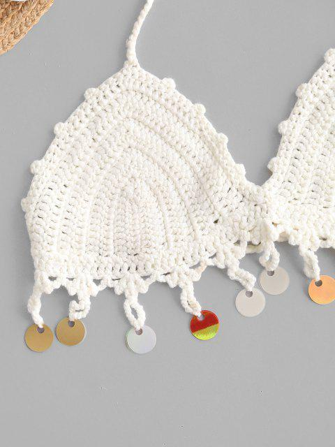 best Halter Crochet Sequins Bikini Top - WHITE ONE SIZE Mobile