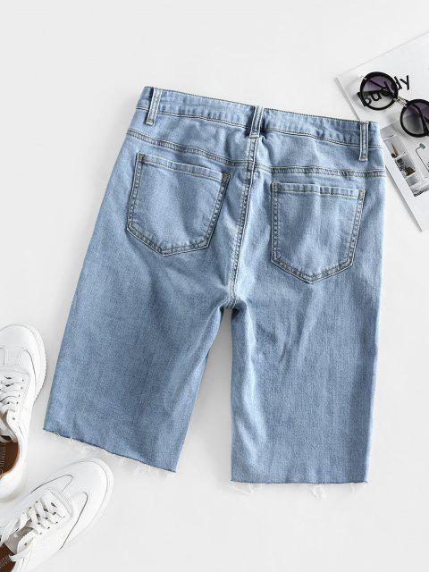 hot ZAFUL High Waisted Raw Hem Bermuda Denim Shorts - BLUE M Mobile