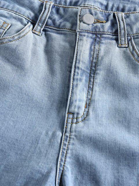 buy ZAFUL High Waisted Raw Hem Bermuda Denim Shorts - BLUE L Mobile