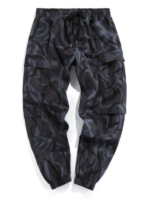 ZAFUL Pantalones de Estampado de Camuflaje de Cordón - Negro S Mobile