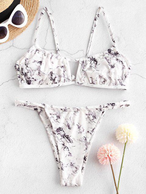 ZAFUL Bikinibadebekleidung mit Geripptem Ausschnitt und Hohem Bein - Weiß S Mobile