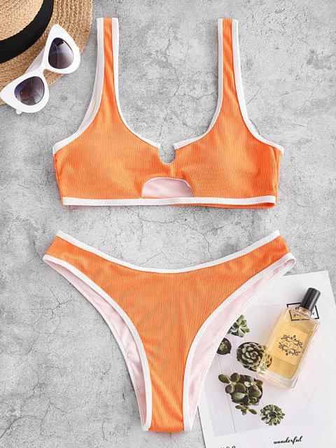 ZAFUL Gerippter Schlüsselloch Ringer Bikini Badebekleidung - Dunkles Orange S Mobile
