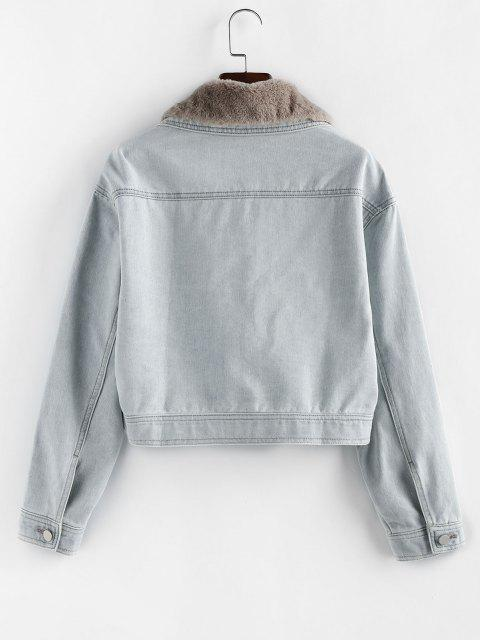 online ZAFUL Pocket Faux Fur Collar Drop Shoulder Denim Jacket - LIGHT BLUE M Mobile