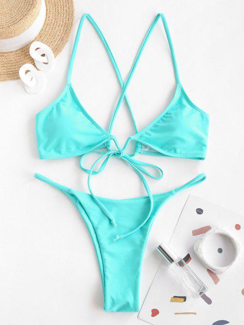 ZAFUL V Verdrahtete Kreuze und Quere Tanga Bikini Badebekleidung - Hellblau S Mobile