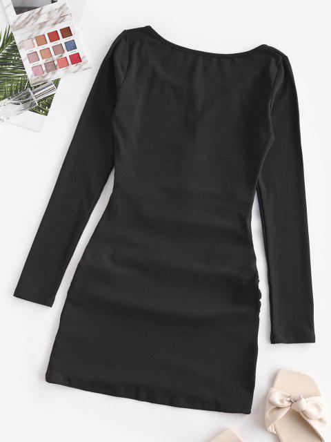 Halbgeknöpftes Drapiertes Minikleid mit Ausschnitt - Schwarz S Mobile