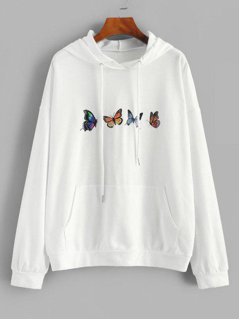 best ZAFUL Drop Shoulder Butterfly Print Hoodie - WHITE M Mobile