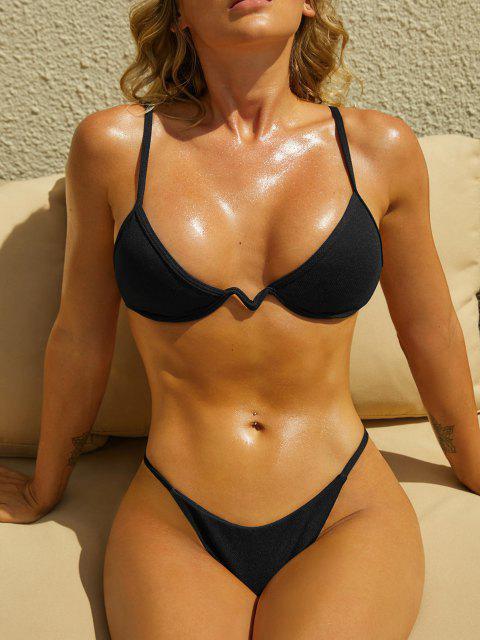 ZAFUL Strukturierte Bügeln Bikini Badebekleidung - Schwarz S Mobile