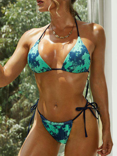 women's ZAFUL Ribbed Tie Dye Halter String Bikini Swimwear - GREEN L Mobile
