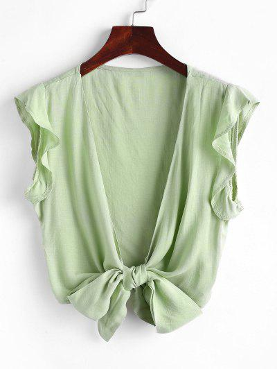 Tie Front Ruffled Sleeve Cropped Blouse - Light Green M