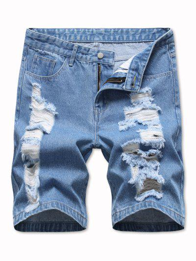 Ladder Distressed Jean Shorts - Light Blue 32