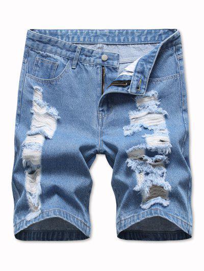 Ladder Distressed Jean Shorts - Light Blue 36