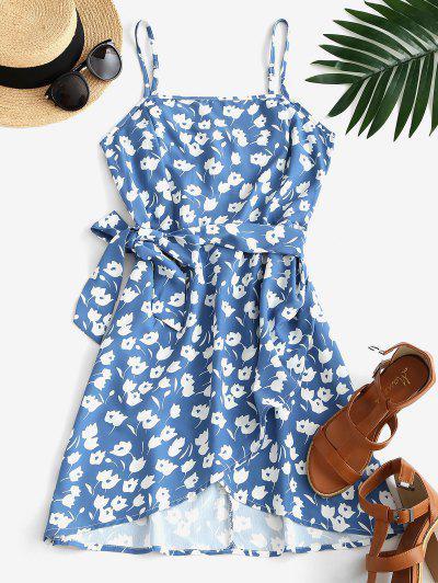 Floral Tie Waist Smocked Back Mini Dress - Blue M