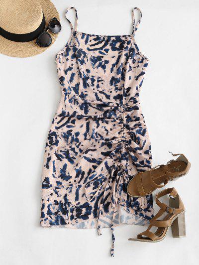 Cami Asymmetrical Flame Zebra Tie Dye Cinched Dress - Light Pink S