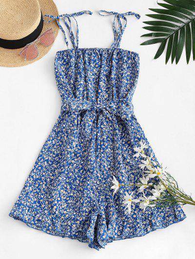 Ruffled Hem Tie Shoulder Ditsy Floral Romper - Blue S