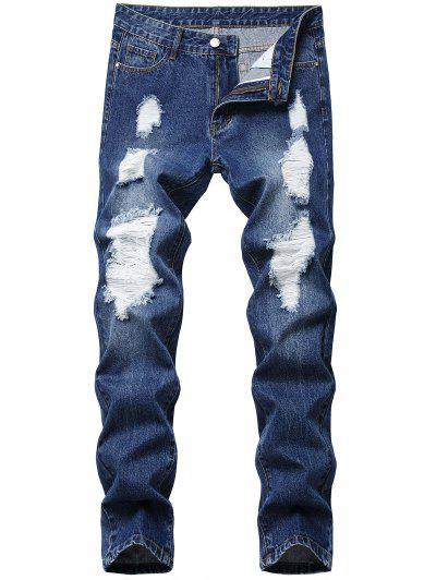 Distressed Straight Leg Jeans - Blue 40