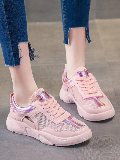 Mesh Panel Cut Out Sneakers - Light Pink Eu 38