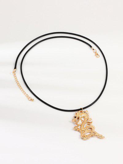 Chinese Dragon Pendant Necklace - Golden