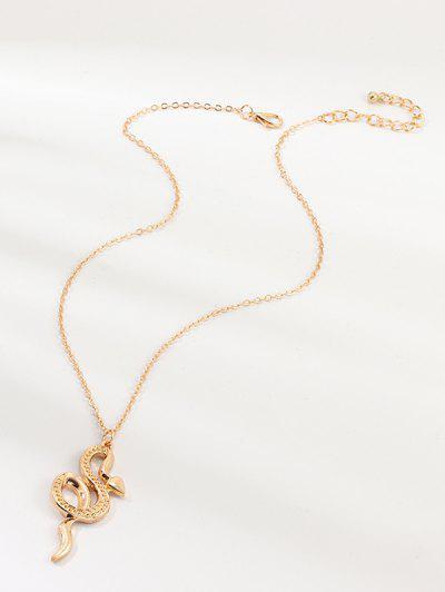 Snake Pendant Chain Necklace - Golden