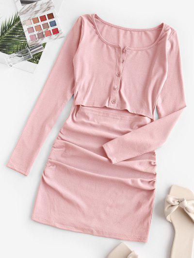 Mini Robe Drapée DécoupéeDemi-Boutonnée - Rose Clair S