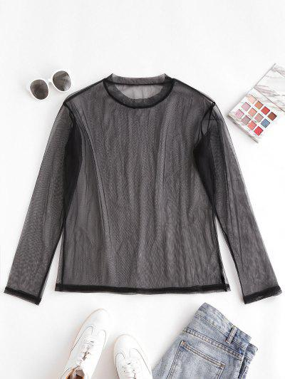 Sheer Mesh Long Sleeve Top - Black