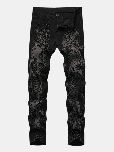 Hunter Leopard Print Tapered Jeans - Black 38