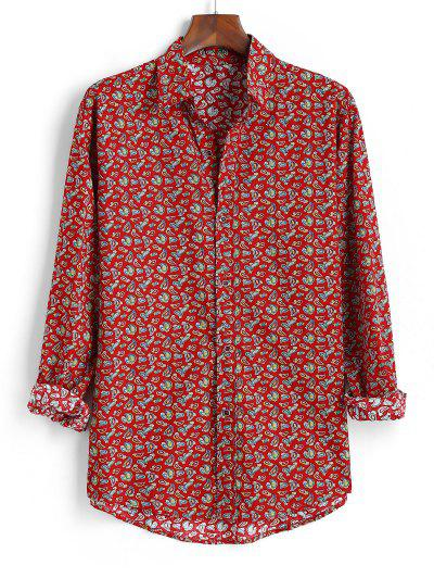 Tiny Paisley Print Button Up High Low Shirt - Red 2xl