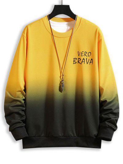 Letter Ombre Print Crew Neck Sweatshirt - Yellow Xs