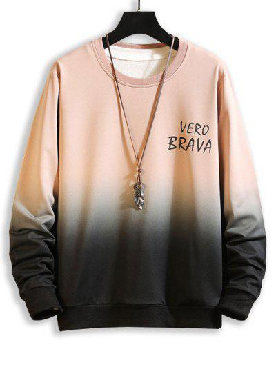 Letter Ombre Print Crew Neck Sweatshirt - Pink M