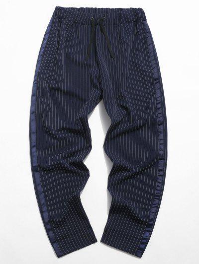 Pinstripe Side Ribbon Elastic Waist Pants - Cadetblue 3xl