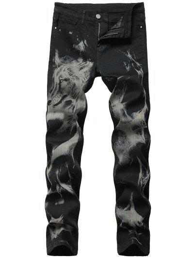 Animal Tie Dye Print Tapered Jeans - Black 38