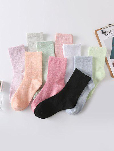 10Pairs Solid Cotton Crew Socks Set - Multi-a
