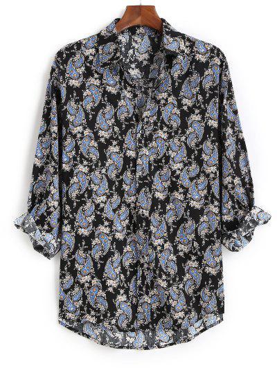 Ditsy Paisley Print Button Up High Low Shirt - Black 3xl